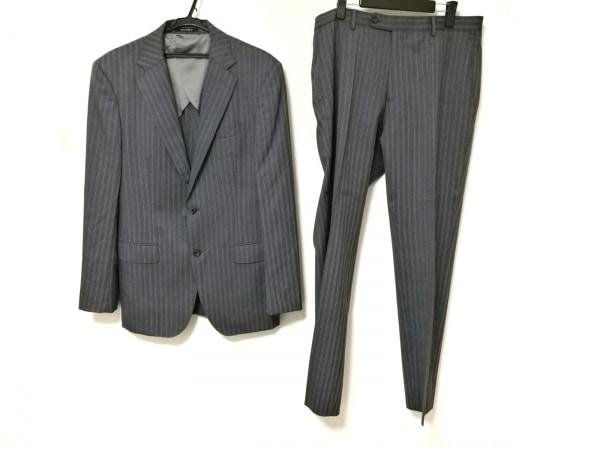 プラチナコムサ シングルスーツ メンズ グレー シングル/肩パッド/ストライプ