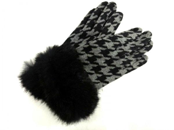 THE GINZA(ザ ギンザ) 手袋 レディース美品  黒×グレー ウール×ファー