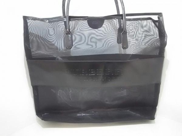 バーバリーフレグランス トートバッグ美品  黒 メッシュ/シースルー 化学繊維×レザー