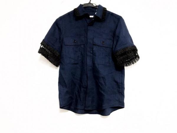 トーガプルラ 半袖シャツブラウス サイズ36 S レディース美品  ネイビー×黒
