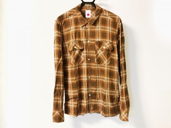 マーカ 長袖シャツ サイズ3 L メンズ ダークブラウン×ブラウン×ベージュ チェック柄