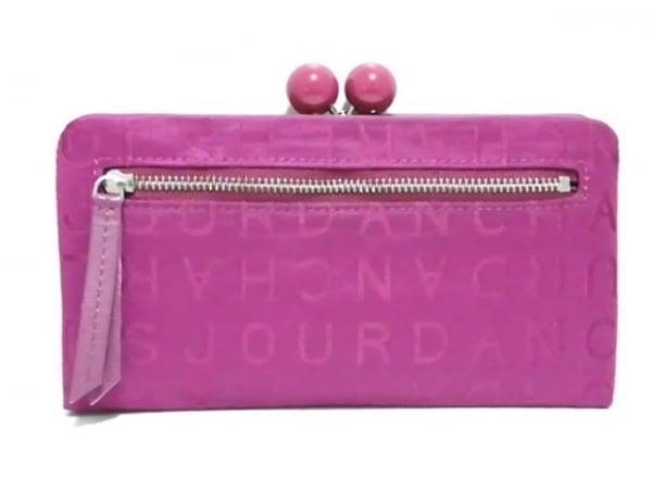 シャルルジョルダン 長財布美品  ピンクパープル がま口 ナイロンジャガード×レザー