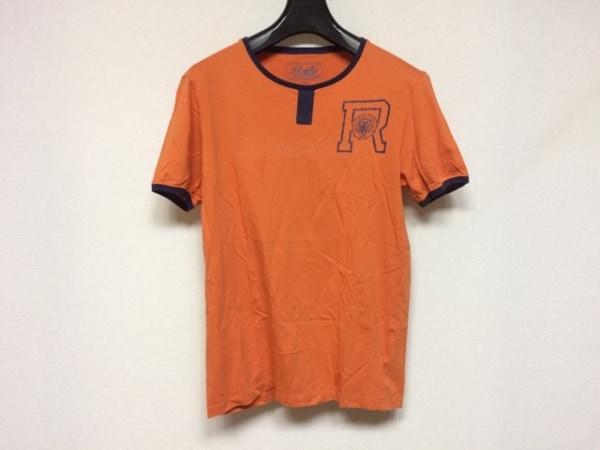 ラルフローレンラグビー 半袖Tシャツ サイズS メンズ美品  オレンジ×ダークネイビー