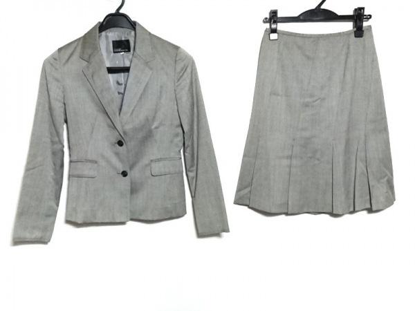 クリアインプレッション スカートスーツ サイズ2 M レディース ライトグレー×黒