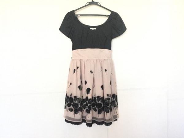 レストローズ ワンピース サイズ2 M レディース美品  黒×ピンクベージュ 花柄