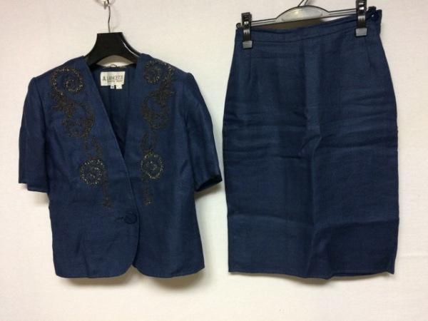 ランチェッティ スカートスーツ サイズ40 M レディース美品  ネイビー ビーズ