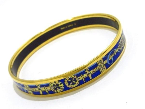 HERMES(エルメス) バングル美品  エマイユ 金属素材 ゴールド×ブルー×マルチ