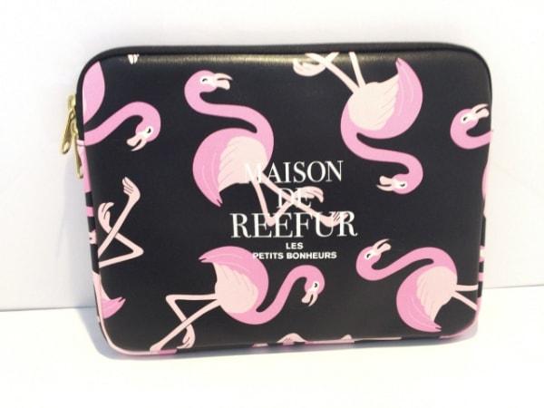 Maison de Reefur(メゾン ド リーファー) ポーチ美品  黒×ピンク 化学繊維