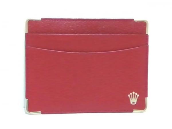 ROLEX(ロレックス) カードケース美品  レッド×ゴールド レザー