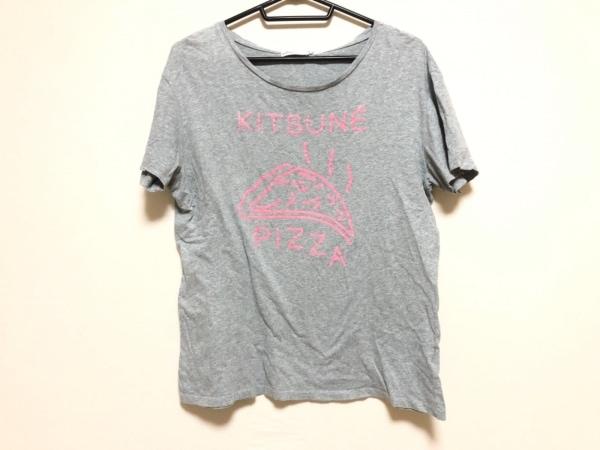 KITSUNE TEE(キツネティー) 半袖Tシャツ サイズM レディース グレー×ピンク