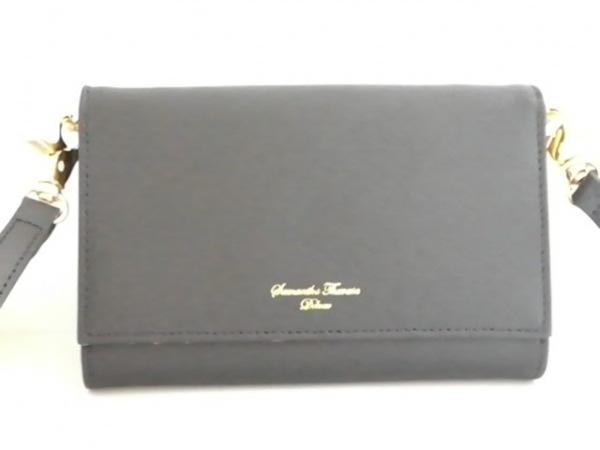 サマンサタバサデラックス 3つ折り財布美品  黒×イエロー 合皮