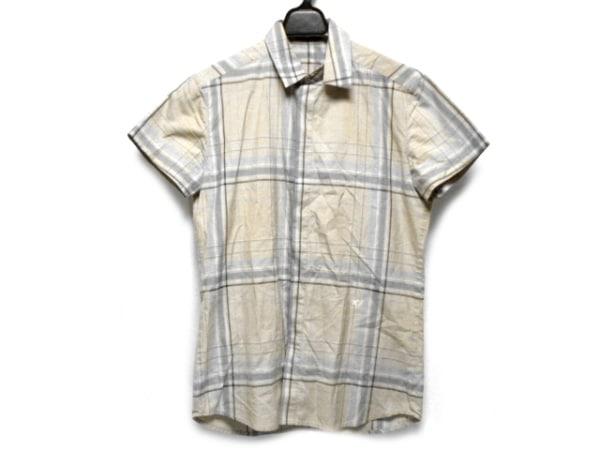 クリスヴァンアッシュ 半袖シャツ サイズ44 L メンズ ベージュ×ブルー×パープル
