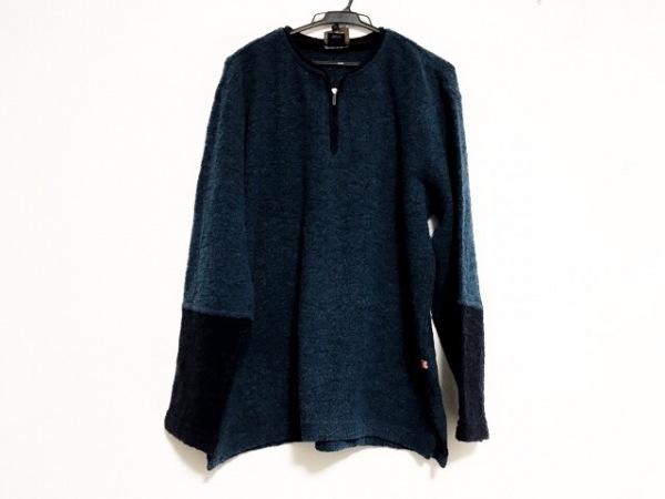 クージー 長袖セーター サイズM レディース美品  ネイビー×ダークネイビー