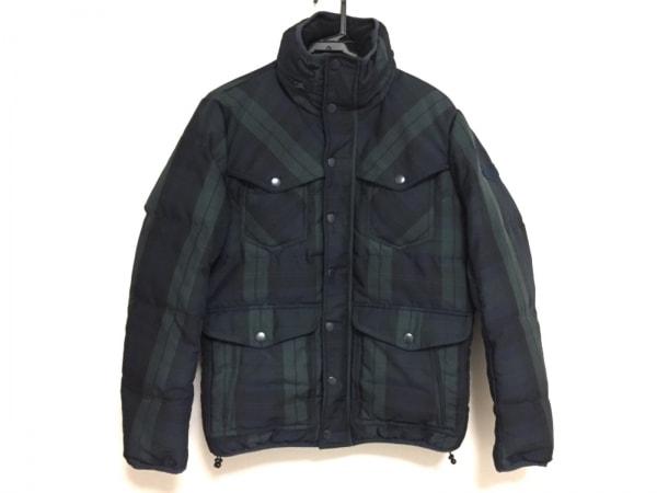 DIESEL(ディーゼル) ダウンジャケット サイズS メンズ 黒×ダークグリーン×マルチ