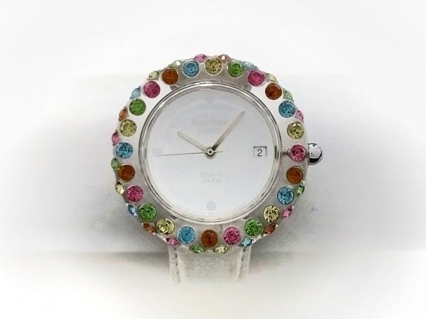 ボンボンウォッチ 腕時計 - レディース 革ベルト/裏スケ/ラインストーン 白