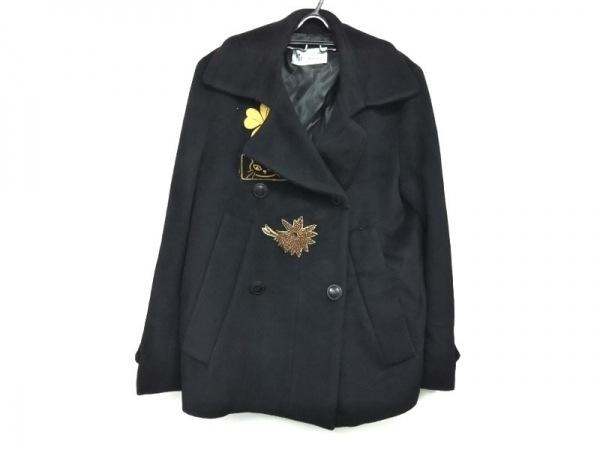 クレメンツ リベイロ コート サイズ44 L レディース美品  黒×ゴールド