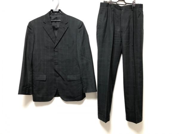 コムサイズム シングルスーツ サイズM メンズ美品  ダークグレー チェック柄