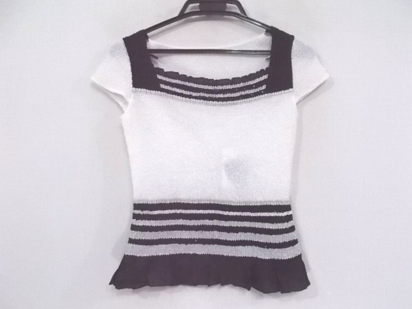 NOKO PLEATS(ノコプリーツ) 半袖カットソー サイズ38 M レディース新品同様  白×黒