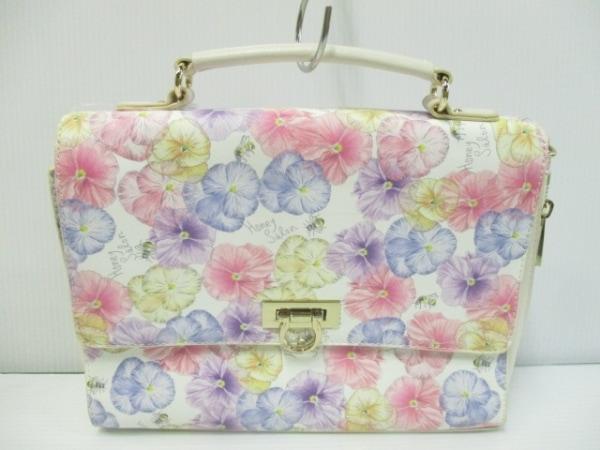 ハニーサロンバイフォピッシュ ハンドバッグ 白×ピンク×マルチ 花柄 合皮