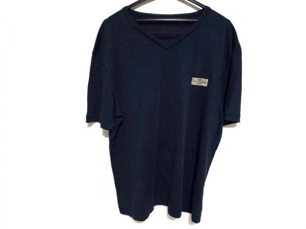 パパス 半袖Tシャツ サイズ50 メンズ美品  ダークネイビー×アイボリー×マルチ