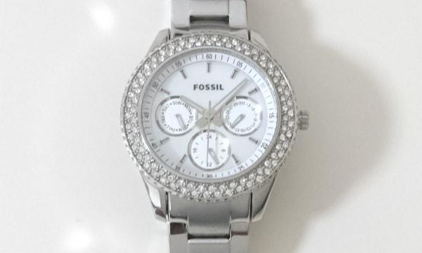 FOSSIL(フォッシル) 腕時計美品  ES-2860 レディース クロノグラフ/ラインストーン