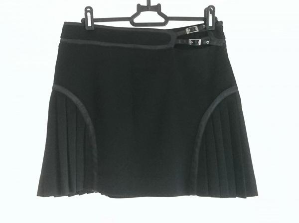 ヴェルサーチジーンズ ミニスカート レディース美品  黒 一部プリーツ