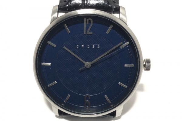 CROSS(クロス.) 腕時計美品  CR8053 メンズ 革ベルト ネイビー