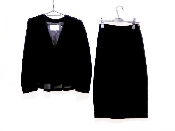 LANCETTI(ランチェッティ) スカートスーツ サイズ40 M レディース 黒 ベロア/肩パッド