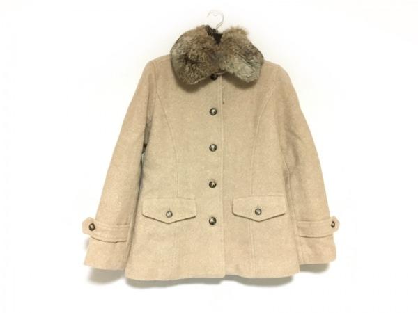 エアパペル コート サイズ40 M レディース美品  ライトブラウン ファー/冬物