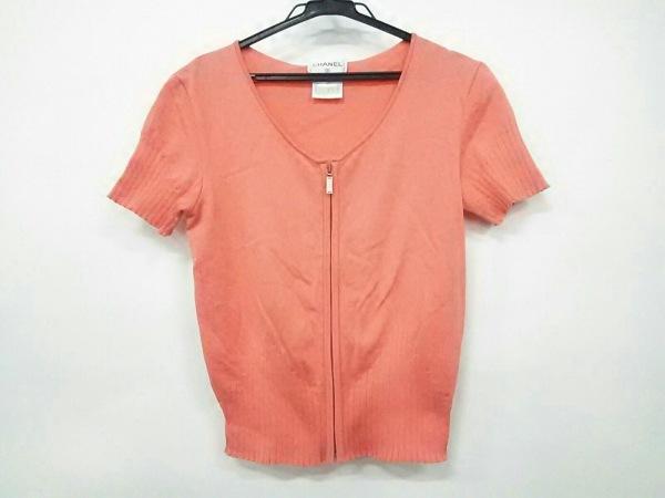 シャネル カーディガン サイズ38 M レディース美品  オレンジ 半袖/ジップアップ