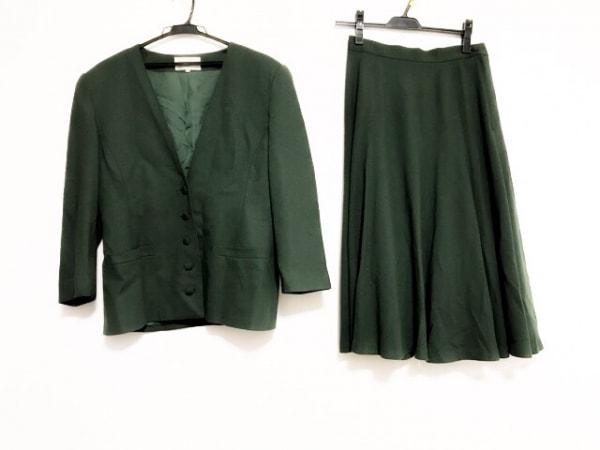 キャシャレル スカートスーツ サイズ1 S レディース美品  グリーン 肩パッド