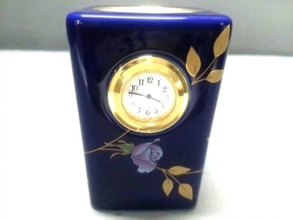 コウランシャ 小物美品  ネイビー×ゴールド×マルチ ペン立て/置時計(動作確認済み)