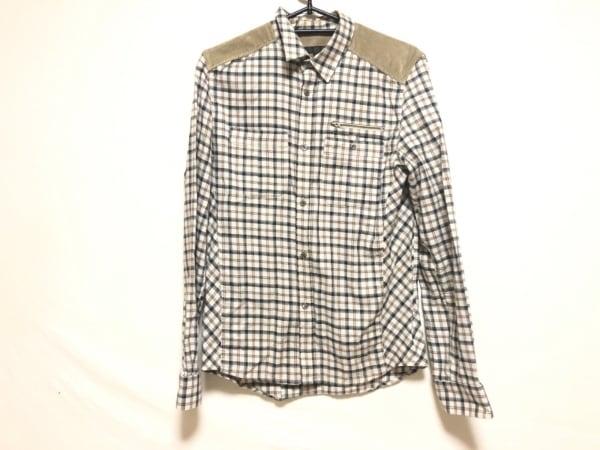 ヴェロニク・ブランキーノ 長袖シャツ サイズ48 XL メンズ ベージュ×黒×マルチ