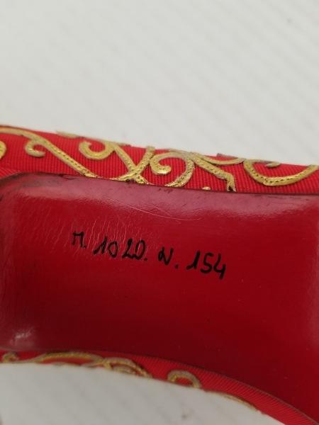 レネカオヴィラ パンプス レディース レッド×ゴールド 化学繊維×レザー