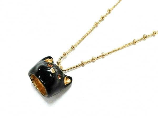 レネレイド ネックレス 金属素材×ラインストーン ゴールド×黒×ブラウン 犬