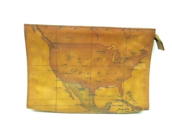 プリマクラッセ セカンドバッグ ブラウン×ダークブラウン×ダークグリーン 地図