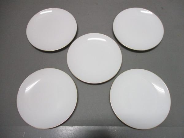 オオクラチャイナ プレート新品同様  白×ゴールド 5枚セット 陶器