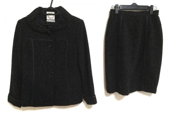 Opti(オプティ) スカートスーツ レディース 黒×レッド×マルチ