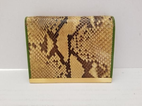 セレンシー 2つ折り財布美品  ベージュ×ダークブラウン×グリーン パイソン