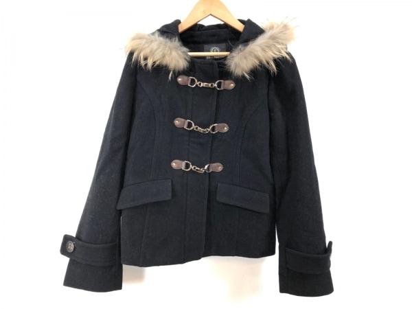 クリアインプレッション コート サイズ2 M レディース 黒×ベージュ ショート丈/冬物