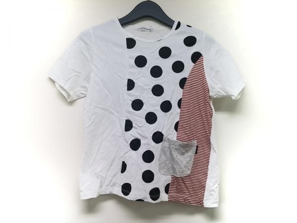 ワイズフォーリビング 半袖Tシャツ レディース 白×マルチ ドット柄/ボーダー