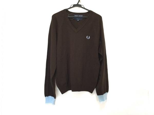フレッドペリー 長袖セーター サイズS メンズ美品  ブラウン×ライトブルー