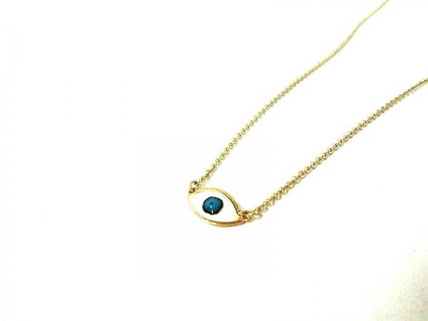 Les Nereides(レネレイド) ネックレス美品  金属素材 白×ブルー×ゴールド アイズ