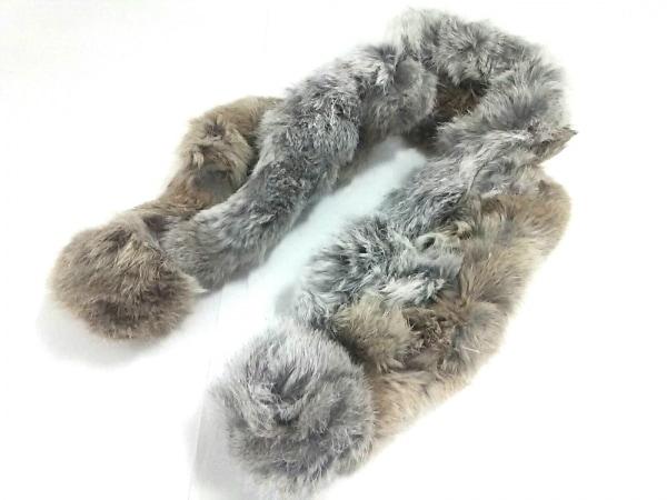 Moon Bat Fur(ムーンバットファー) マフラー グレー×白 ラビット