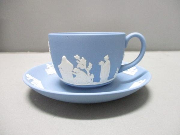 ウェッジウッド カップ&ソーサー新品同様  ジャスパー ライトブルー×白 陶器