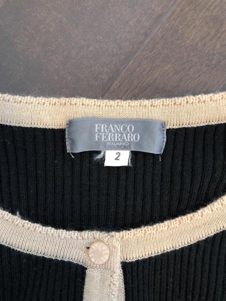 フランコフェラーロ カーディガン サイズ2 M レディース新品同様  黒×ベージュ