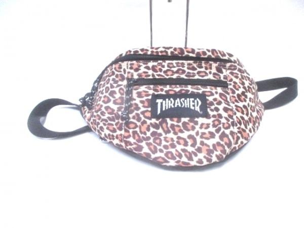 THRASHER(スラッシャー) ウエストポーチ 黒×ベージュ×ブラウン 豹柄 ナイロン