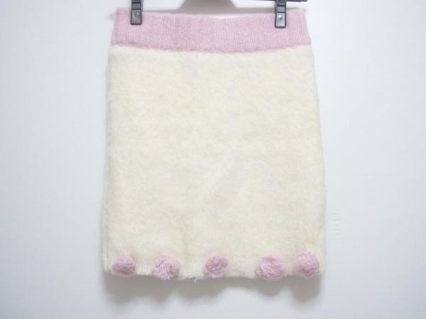 パメオポーズ スカート サイズF レディース アイボリー×ピンク ニット/ウエストゴム