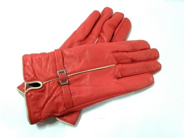 GUILD PRIME(ギルドプライム) 手袋 レディース レッド×ベージュ レザー
