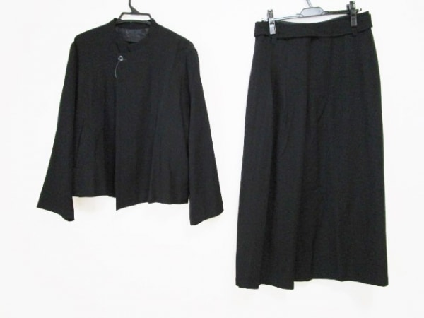pour deux(プルドゥ) スカートスーツ サイズM レディース 黒 ストライプ